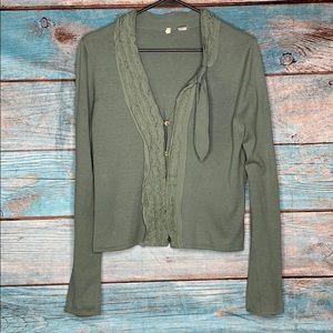 Anthropologie Moth Green Bow Cardigan Sweater M